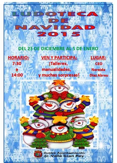 El Ayuntamiento de Valle Gran Rey abre el Plazo para Participar en la Ludoteca de Navidad.
