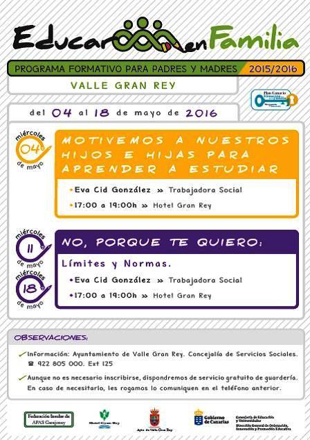 El programa 'Educar en Familia' arranca esta tarde en Valle Gran Rey