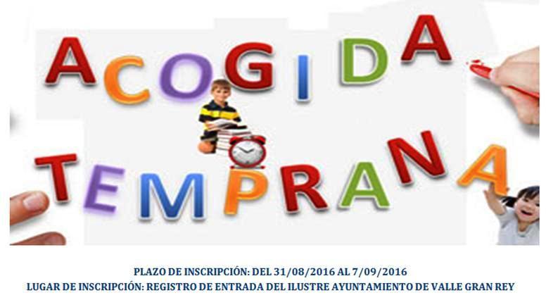 El Ayuntamiento de Valle Gran Rey Abre el plazo de Inscripción del Servicio de Acogida Temprana en los Colegios del Municipio.