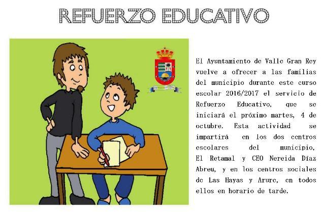 Los escolares de Valle Gran Rey dispondrán este curso del servicio de Refuerzo Educativa que organiza el Ayuntamiento.