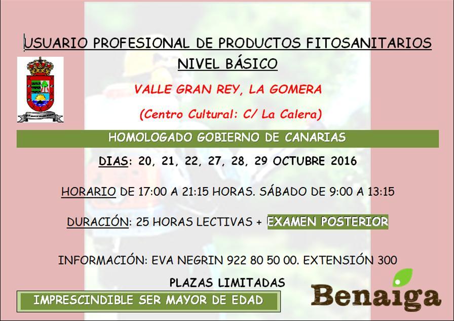 El Ayuntamiento de Valle Gran Rey organiza un curso de Manipulador de Productos Fitosanitarios.