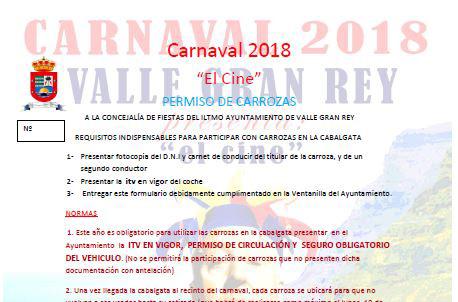 Inscripción de las carrozas del Carnaval 2018 Valle Gran Rey